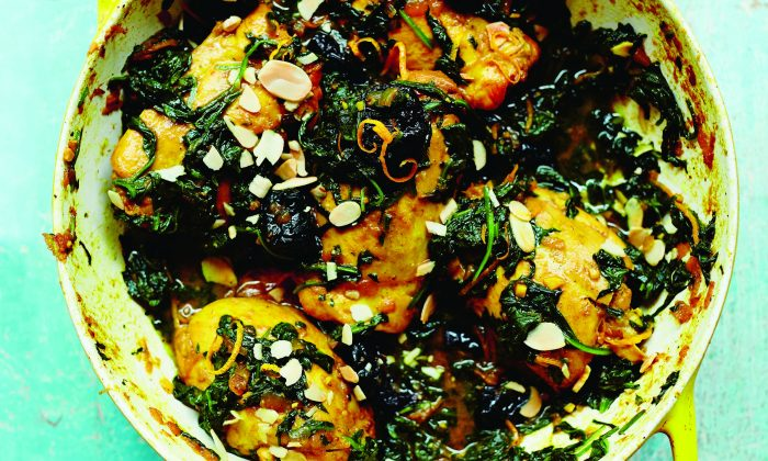 Chicken stew with spinach and prunes